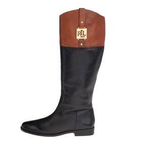 Ralph Lauren Black Tan Riding Boots Women Size 7.5